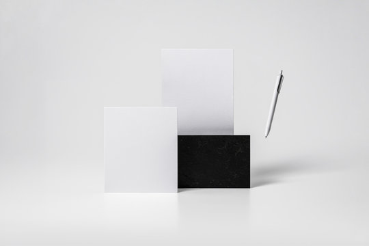 Abstract corporate identity Mock up with basic stationary set. 3D rendering