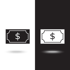 Vector icon money on black and white background