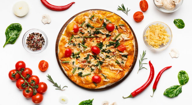 Delicious italian pizza with cheese and cherry tomatoes