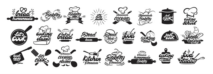 Big set of cooking and bakery logos in lettering style. Bread emblems. Cook, chef, kitchen utensils icon or logo. Handwritten lettering vector illustration - Vector Fototapete