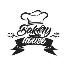 Bakery house logos in lettering style. Vector illustration