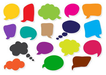 Speech bubbles collection. Blank empty colorful clouds for your text. Vector illustration