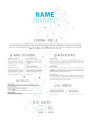 Creative simple vector illustration CV template with colorful dots in background.