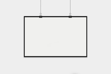 Blank Horizontal Poster with white frame Mock up on soft grey wall. 3D rendering.
