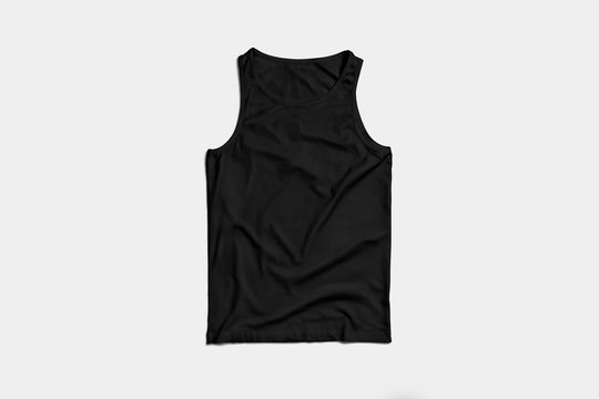 Blank Black Tank Top Shirt Mock-up on white background, front side view. High resolution photo.