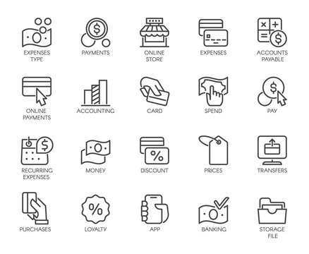 Bank, financial, economic, payment set icons. Credit and debit cards, Nfc system, currency, money, dollar line labels