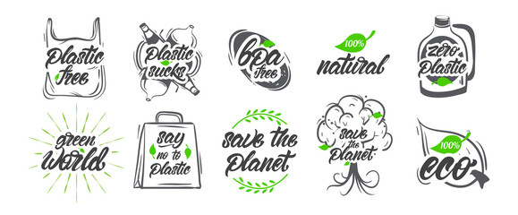 Collection of natural or eco label, No plastic, save the world , logos. Vegan, Bio, gluten. Vector illustration design. Wall mural