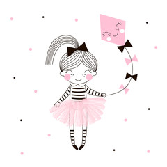 Cute little girl in pink ballerina skirt flies a kite drawn on dotty background. Simple minimalistic vector doodle illustration for girls. Perfect for textile apparel t-shirt print, wall art, poster