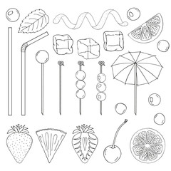 Big collection of elements for the decor of cocktails. Tubes, skewers, spiral, lemon, strawberry, cherry, olives, ice, umbrella, mint. vector illustration. isolated objects. black and white.
