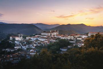 Aerial view of Ouro Preto City at sunset - Minas Gerais, Brazil