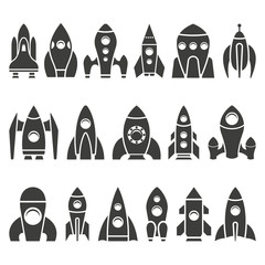 Monochrome vector illustration of set rockets icons isolated on white background.