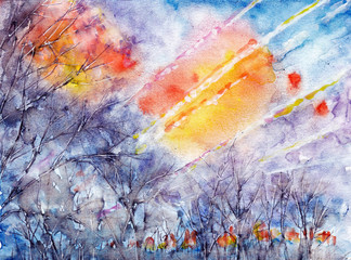 Sunrise in early spring. abstract watercolor background