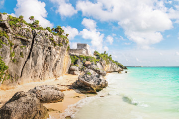 El Castillo and Caribbean beach - Mayan Ruins of Tulum, Mexico