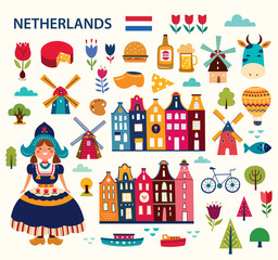Fototapeta Vector illustration in cartoon style with symbols of Netherlands