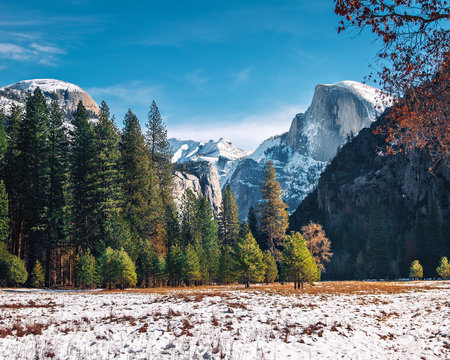 View of Yosemite Valley at winter  with Half Dome - Yosemite National Park, California, USA