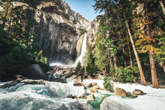 Lower Yosemite Falls at winter (long exposure) - Yosemite National Park, California, USA