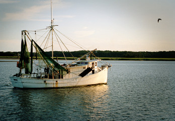 Fishing trawler in a river at sunset.