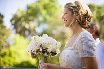 A bride holding a bouquet