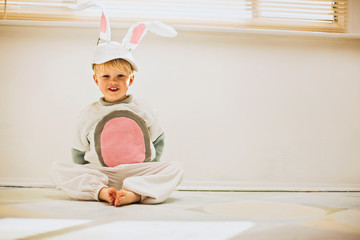 Little boy dressed up as a bunny for Easter
