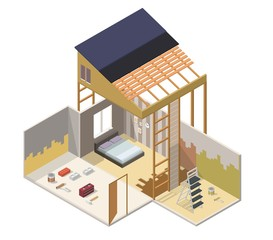 Home repair building realistic low poly isometric vector illustration layout