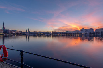 Hamburg, Germany at sunset