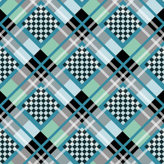 Blue Serenity White Diamond tartan with Chessboard Background Vector Illustration