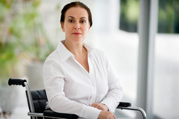 Portrait of senior woman in a wheelchair.