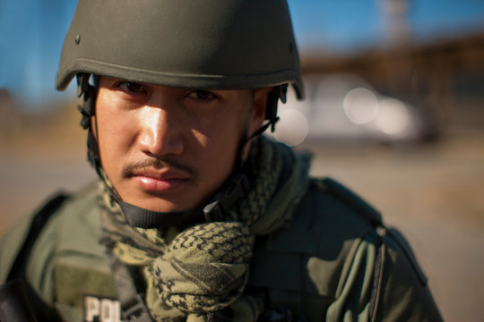Portrait of a mid adult military policeman.