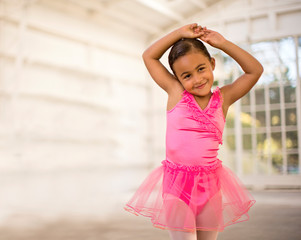 Portrait of a young girl dressed as a ballerina.