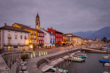 Ascona Old Town and port on Lago Maggiore lake in swiss Alps mountains