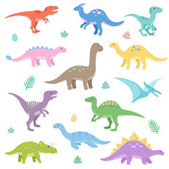Cute dinosaurs set. Funny cartoon dinosaur. Isolated vector illustration