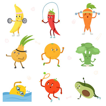 Fruits and vegetables are play sport. Fitness fruit. Cartoon characters set. barbell, jump rope, kettlebell, martial art, running, yoga, swimming, tennis, plank. Isolated vector illustration