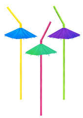 Bright drawn cocktail straws on white background. Small clip art set