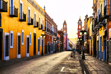Morning streets in colonial city Puebla, Mexico