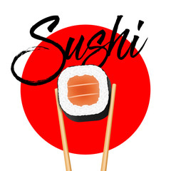 Creative vector illustration of chopsticks holding sushi salmon pieces roll isolated on transparent background. Art design snack template. Abstract concept restaurant, bar, shop menu graphic element