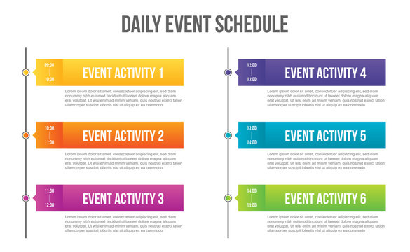 Creative vector illustration of daily event schedule blank isolated on transparent background. Art design timeline business day plan. Abstract concept timetable, timeframe board graphic element