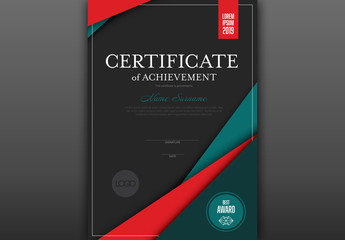Award Certificate Layout with Red Accents