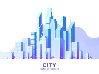 Vector horizontal illustration of big city and skyscrapers with clouds