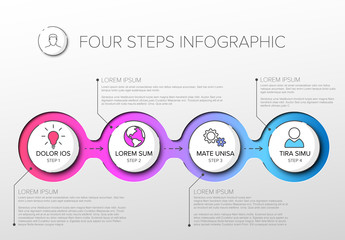 4 Step Circle Infographic Layout