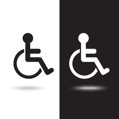 Disabled Handicap Icon on black and white background