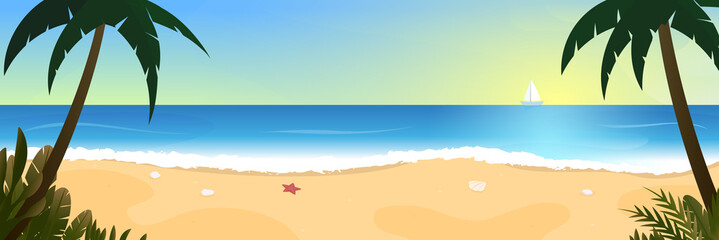 Sea beach, shore, landscape. Panorama wild beach with palm trees, waves, sailboat on the horizon. Vector illustration