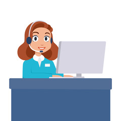 Woman call center operator. Support employee in headphones with a microphone. Worker sitting at the table with a laptop and communicates with the client. Isolated vector illustration
