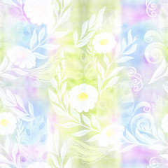 A bouquet of daisy flowers - flowers, leaves on watercolor background. Collage of flowers, leaves on a watercolor background. Decorative composition. Watercolor. Seamless pattern.