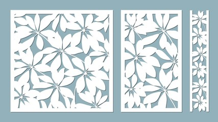 schefler. Vector illustration. Paper flower, stickers. Laser cut. Template for laser cutting and Plotter. Vector illustration. Pattern for the laser cut, serigraphy, plotter and screen printing.