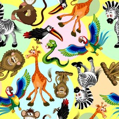 Self adhesive Wall Murals Draw Wild Animals Cartoon Cute and Funny Characters Seamless Pattern Vector illustration