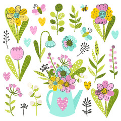 Set of colorful flowers and herbs