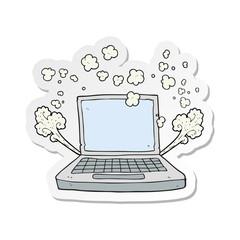 sticker of a cartoon laptop computer fault