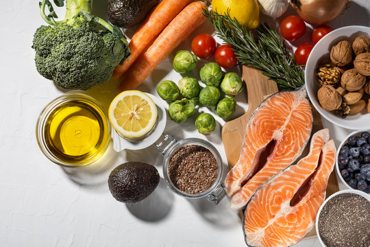Freshly selection of healthy foods for keto diet