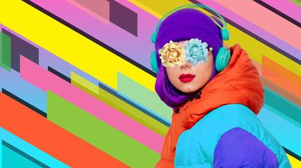 style girl listen music in headphones
