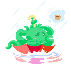 Cute cartoon octopus character in umbrella under rain dreaming about warm and coffee